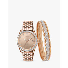 Buy Citizen FE6113-57X SET Women's Eco-Drive Swarovski Crystal Date Bracelet Strap Watch and Bangle Gift Set, Rose Gold Online at johnlewis.com