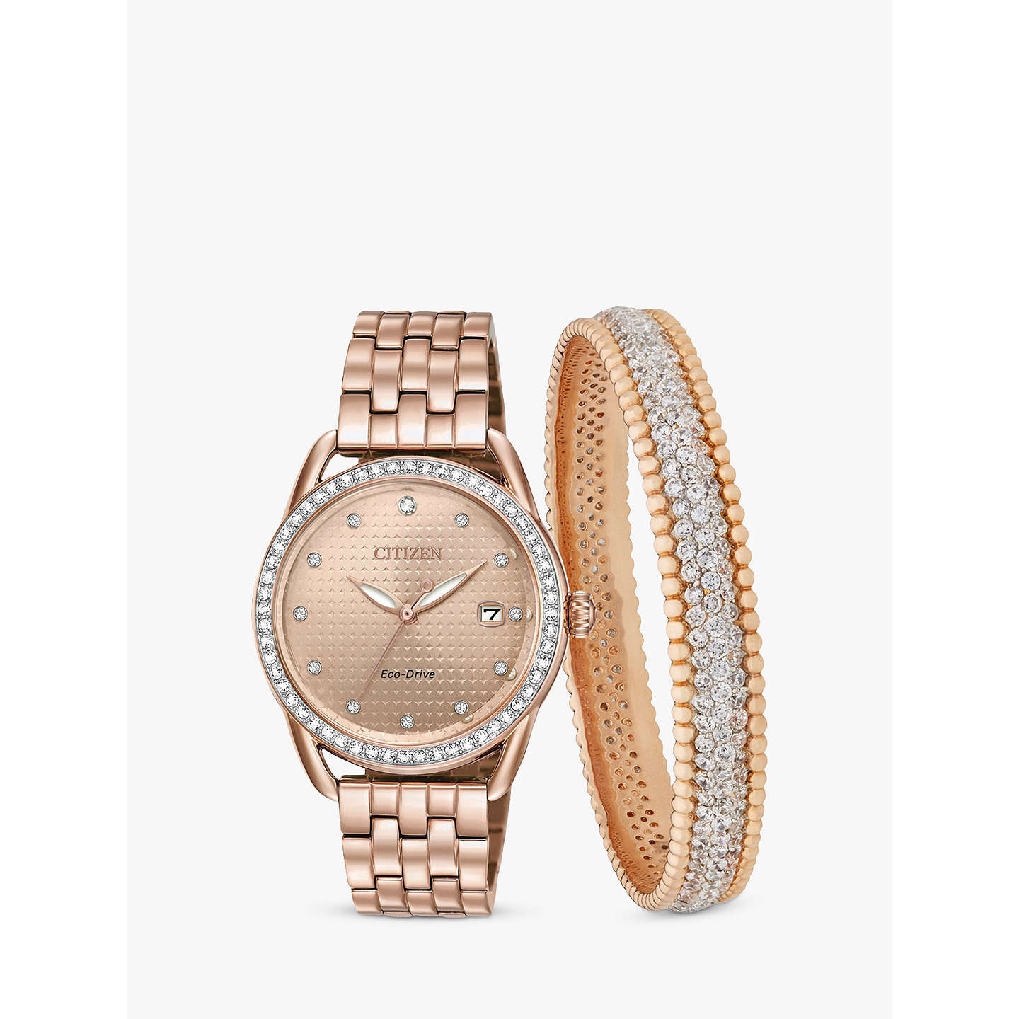 BuyCitizen FE6113 57X SET Womenu0027s Eco Drive Swarovski Crystal Date Bracelet  Strap Watch And ...