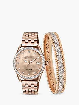 Citizen FE6113-57X SET Women's Eco-Drive Swarovski Crystal Date Bracelet Strap Watch and Bangle Gift Set, Rose Gold