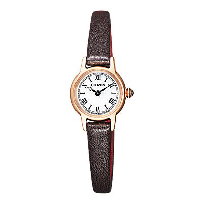 Citizen EG2996-09A Women's Eco Drive Leather Strap Watch, Black/White