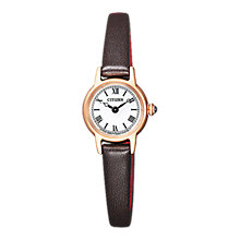 Buy Citizen EG2996-09A Women's Eco Drive Leather Strap Watch, Black/White Online at johnlewis.com