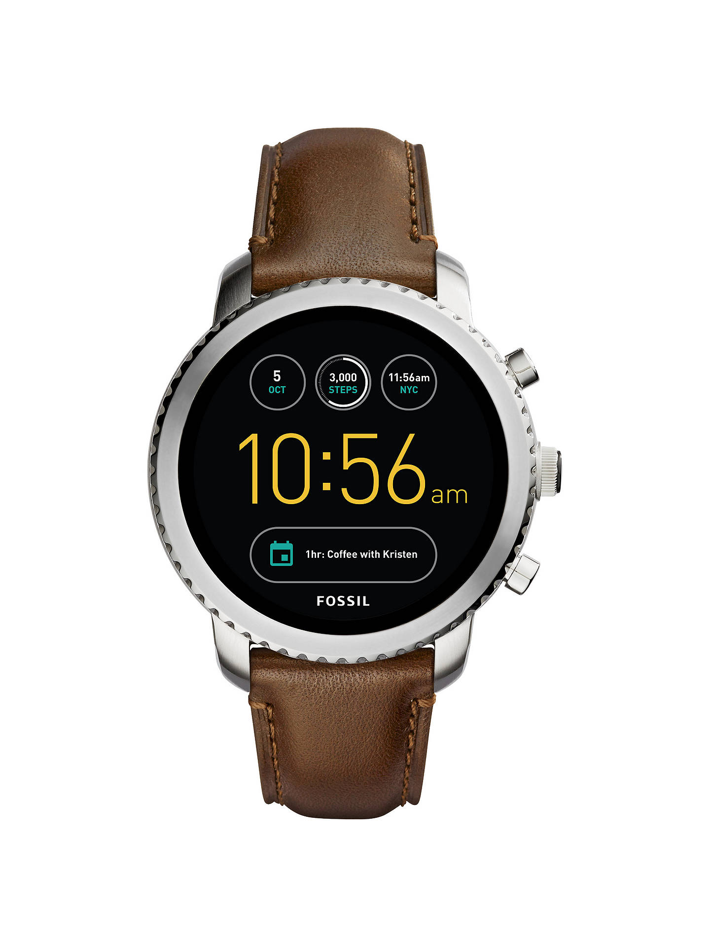 8c1d12433 Buy Fossil Q FTW4003 Men's Explorist Leather Strap Touchscreen Smartwatch,  Brown/Black Online at ...