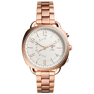 Fossil Q FTW1208 Women's Accomplice Bracelet Strap Hybrid Smartwatch, Rose Gold/White