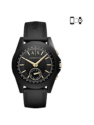 Armani Exchange Connected Men's Hybrid Silicone Strap Smartwatch, Black