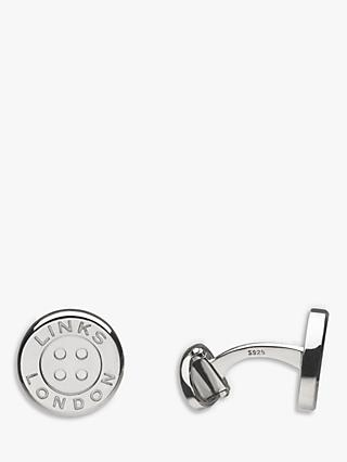 Links of London Sterling Silver Button T Bar Cufflinks, Silver