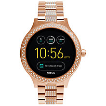 Buy Fossil Q FTW6008 Women's Venture Bracelet Strap Touchscreen Smartwatch, Rose Gold/Black Online at johnlewis.com