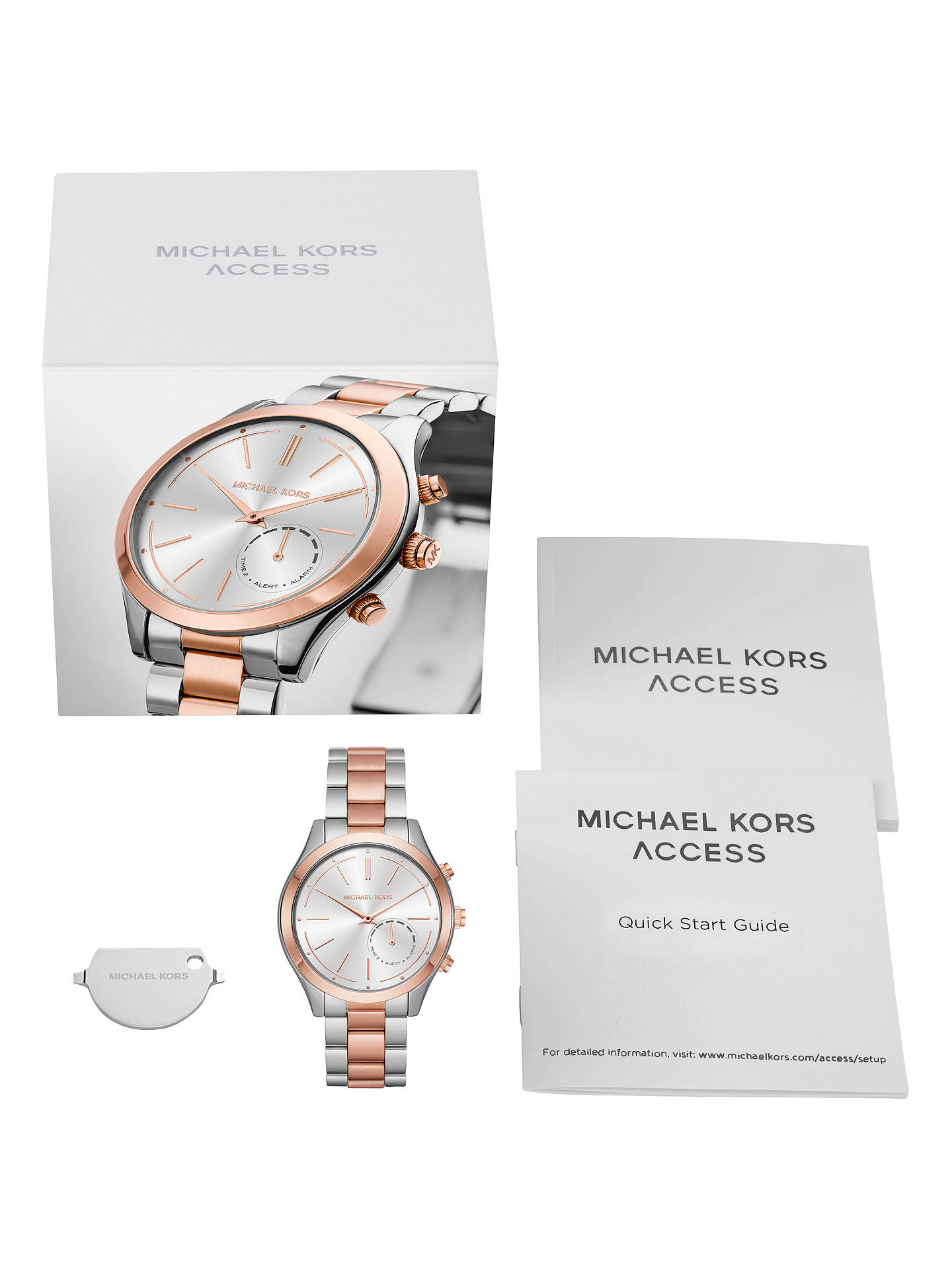 bbc136e05 ... Buy Michael Kors Access MKT4018 Women's Slim Runway Bracelet Strap Hybrid  Smartwatch, Rose Gold/