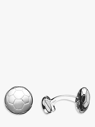 Links of London Sterling Silver Football T Bar Cufflinks, Silver