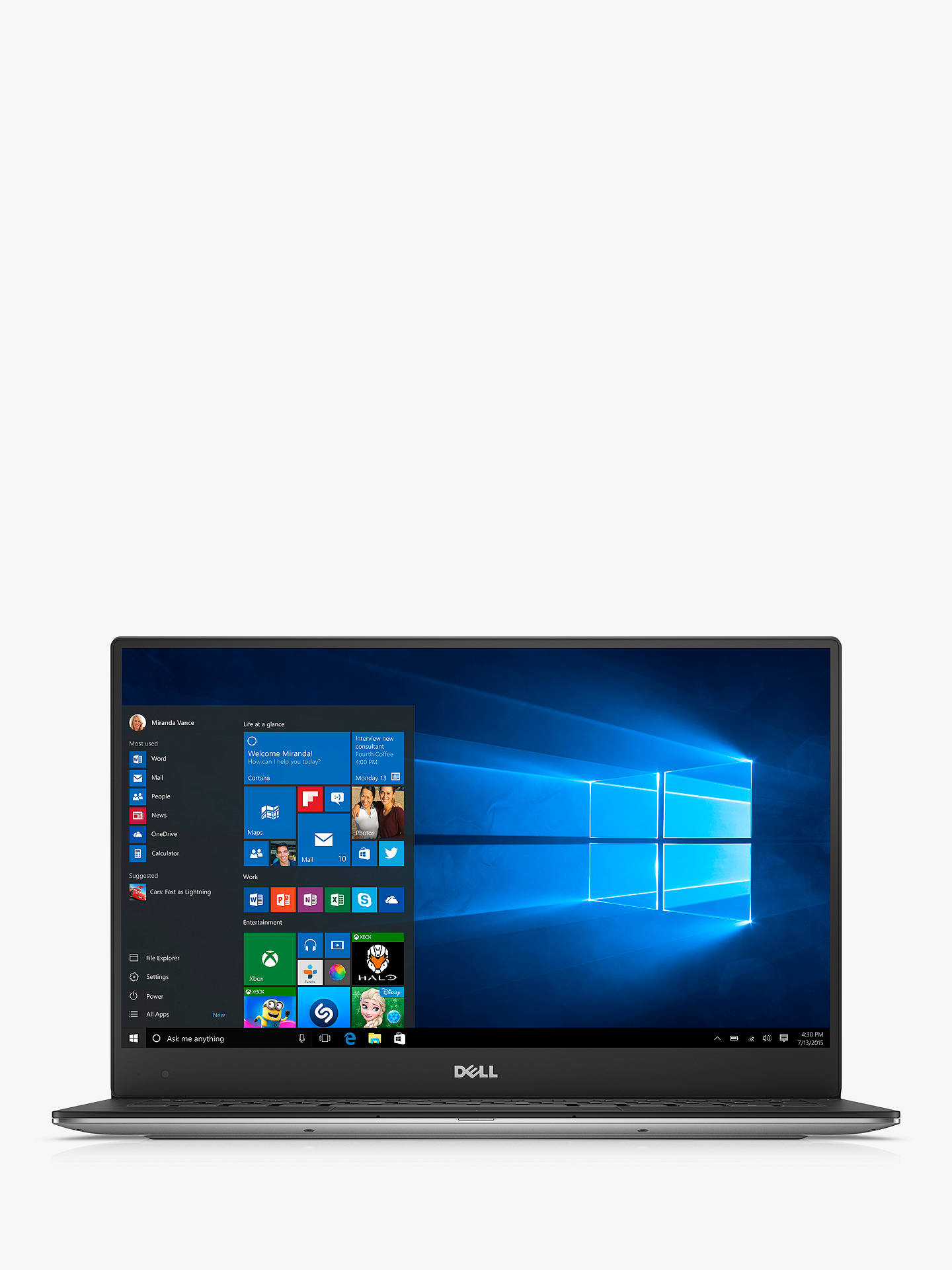 "Dell XPS 13 9360 Laptop, Intel Core i5, 8GB RAM, 256GB SSD, 13 3"", Full HD,  Silver"