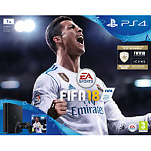 Buy Sony PlayStation 4 Slim Console, 1TB, with DUALSHOCK 4 Controller and FIFA 18, Jet Black Online at johnlewis.com