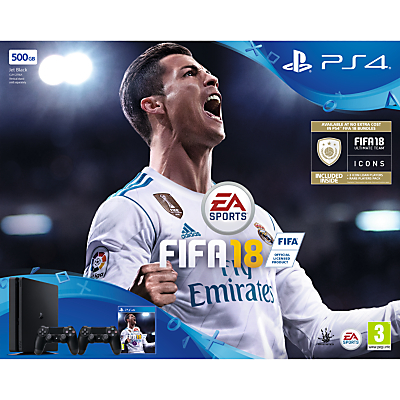 Image of Sony PlayStation 4 Slim Console, 500GB, with 2 DUALSHOCK 4 Controllers and FIFA 18, Jet Black