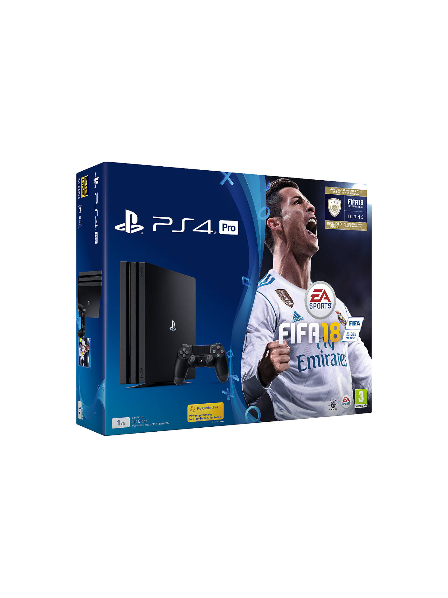 BuySony PlayStation 4 Pro Console, 1TB, with DUALSHOCK 4 Controller and FIFA 18, Jet Black Online at johnlewis.com