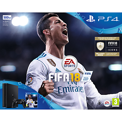Image of Sony PlayStation 4 Slim Console, 500GB, with DUALSHOCK 4 Controller and FIFA 18, Jet Black