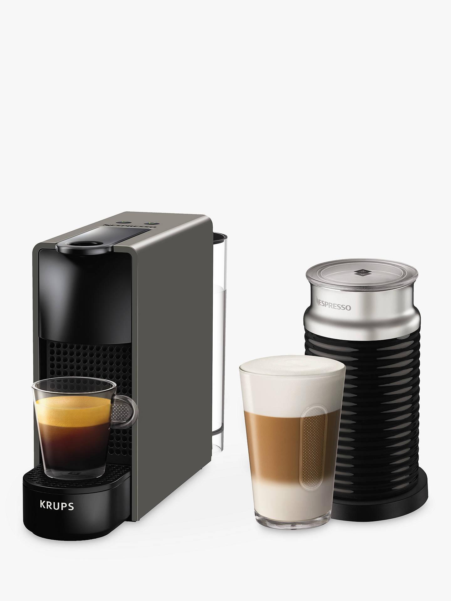 Nespresso Essenza Mini Intense Coffee Machine By Krups With Aeroccino Milk Frother Grey