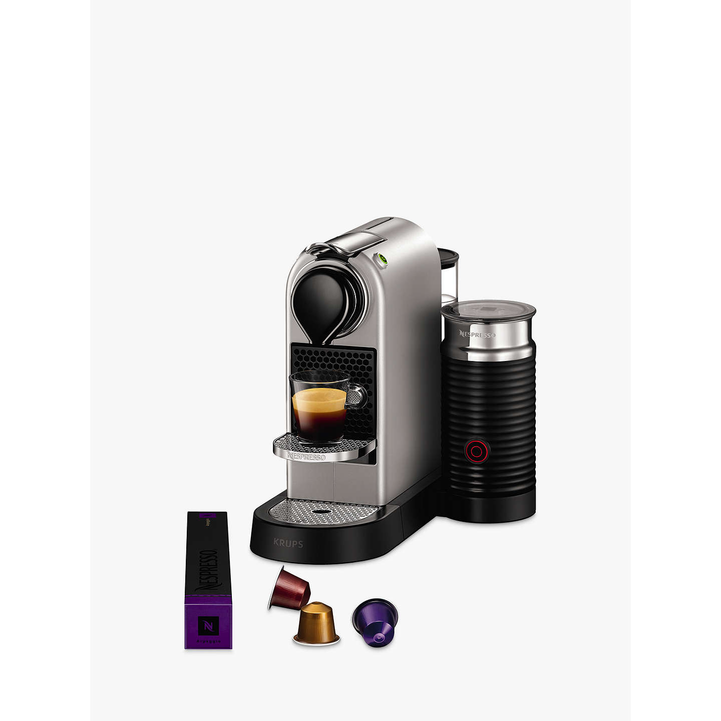 nespresso citiz milk coffee machine by krups with milk frother silver at john lewis. Black Bedroom Furniture Sets. Home Design Ideas