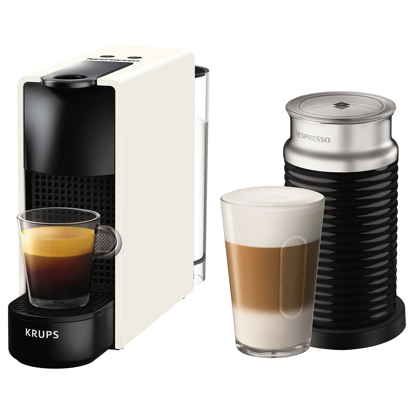 nespresso essenza mini intense coffee machine by krups with aeroccino milk frother at john lewis. Black Bedroom Furniture Sets. Home Design Ideas