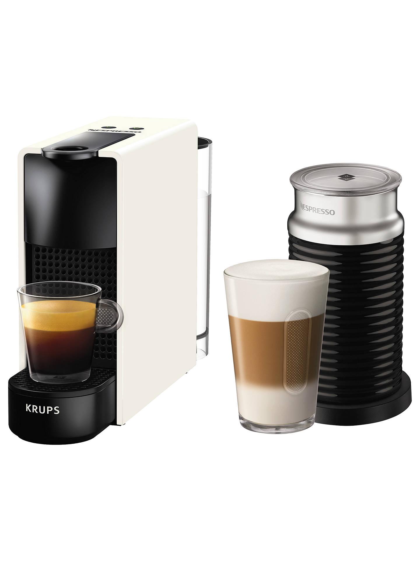 Nespresso Essenza Mini Intense Coffee Machine By Krups With Aeroccino Milk Frother, White/Black by Nespresso