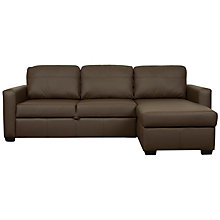 Buy John Lewis Sacha Leather Sofa Bed with Straight Arm, Dark Leg Online at johnlewis.com