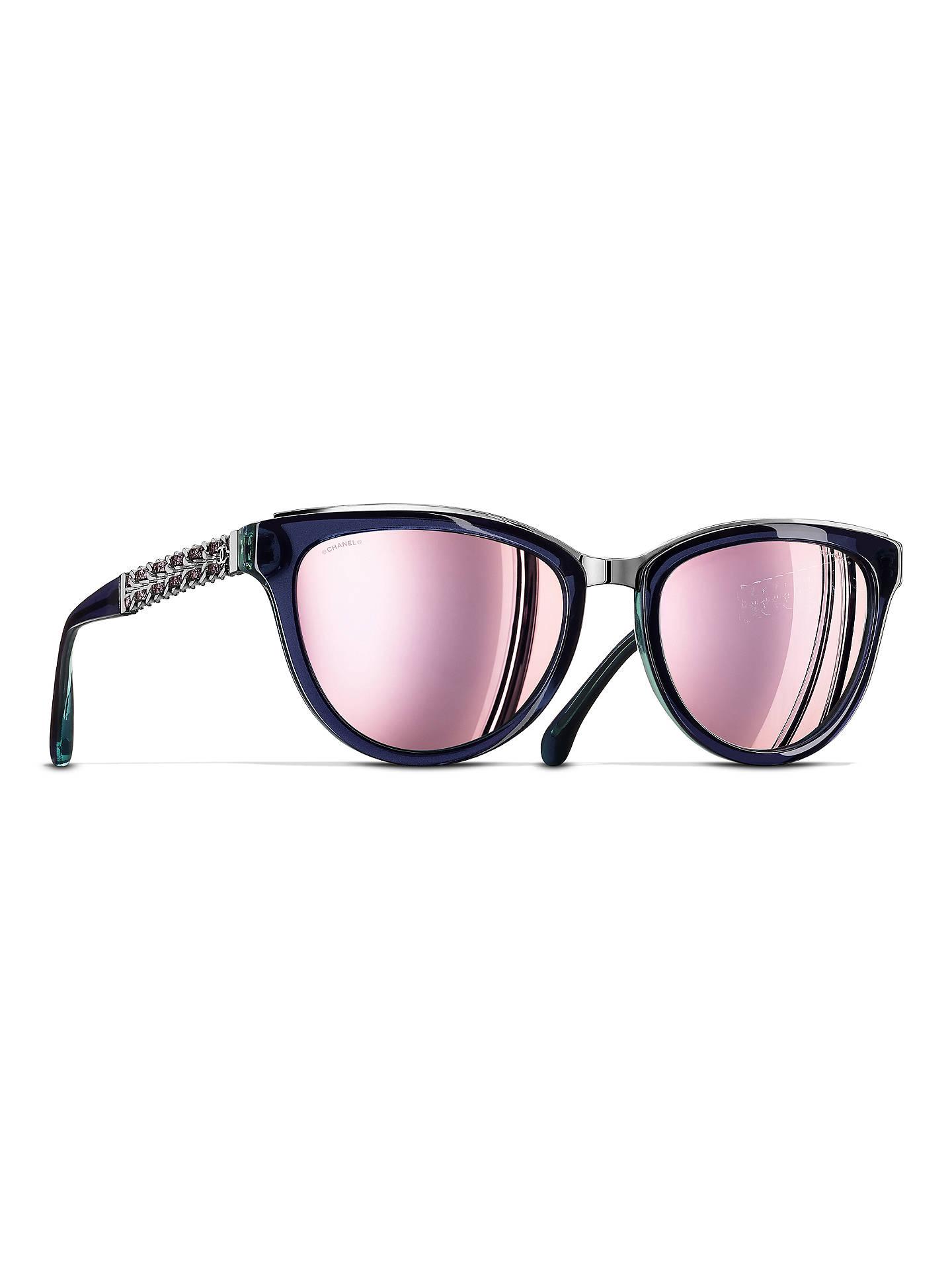 CHANEL Cat Eye Sunglasses CH5361Q Dark Blue at John Lewis & Partners