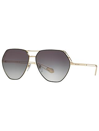 BVLGARI BV6098 Women's Aviator Sunglasses, Gold/Black