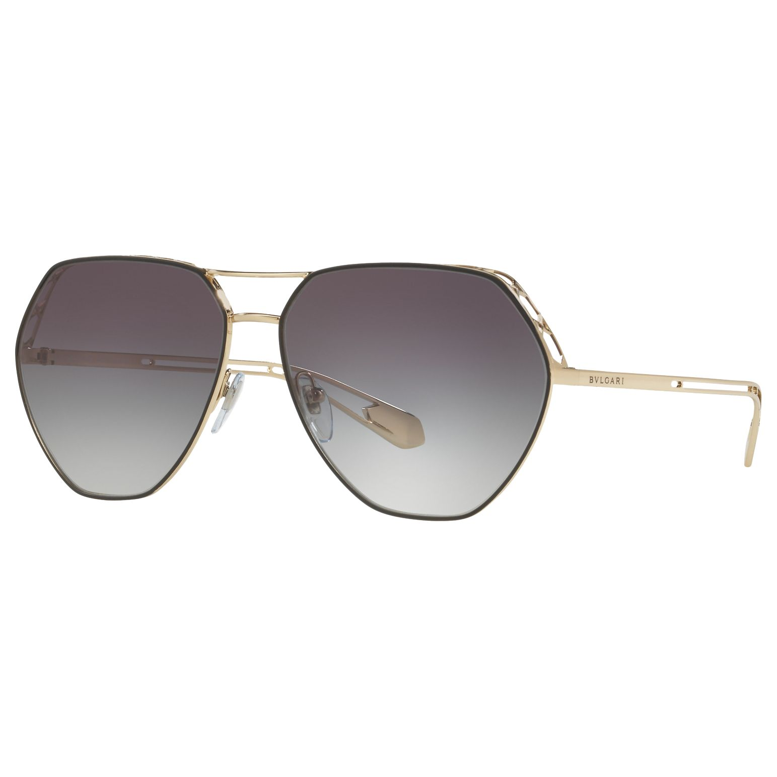 Bvlgari BVLGARI BV6098 Women's Aviator Sunglasses, Gold/Black