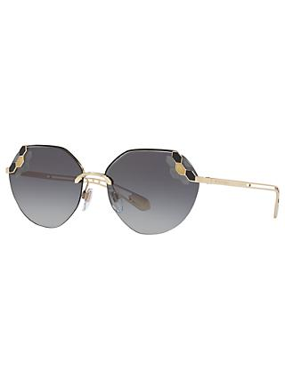 BVLGARI BV6099 Geometric Sunglasses, Gold/Grey Gradient