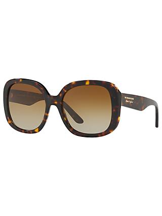 Burberry BE4259 Polarised Square Sunglasses, Tortoise/Brown Gradient