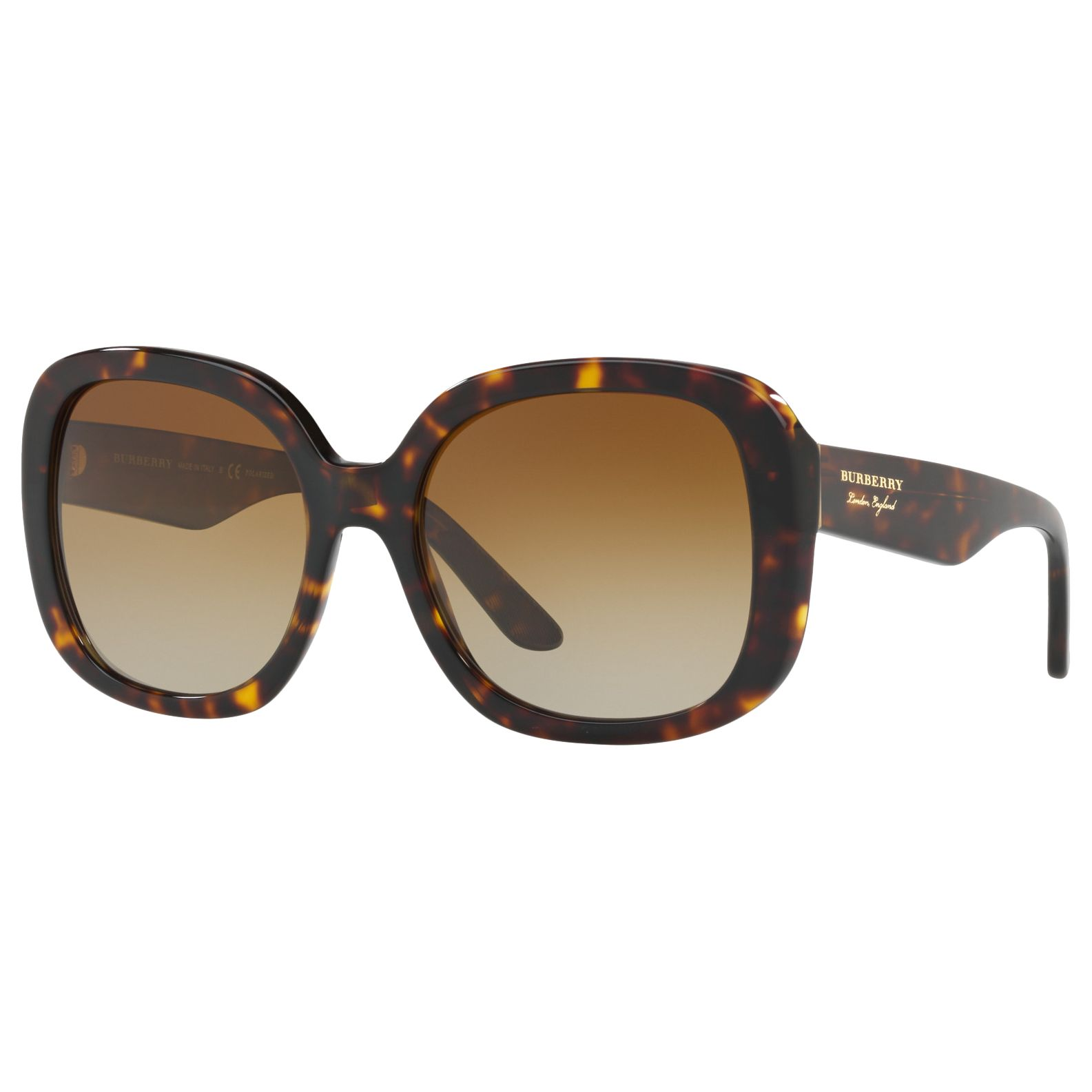 Burberry Burberry BE4259 Polarised Square Sunglasses, Tortoise/Brown Gradient