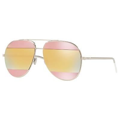 Christian Dior Diorsplit1 Aviator Sunglasses, Silver/Multi