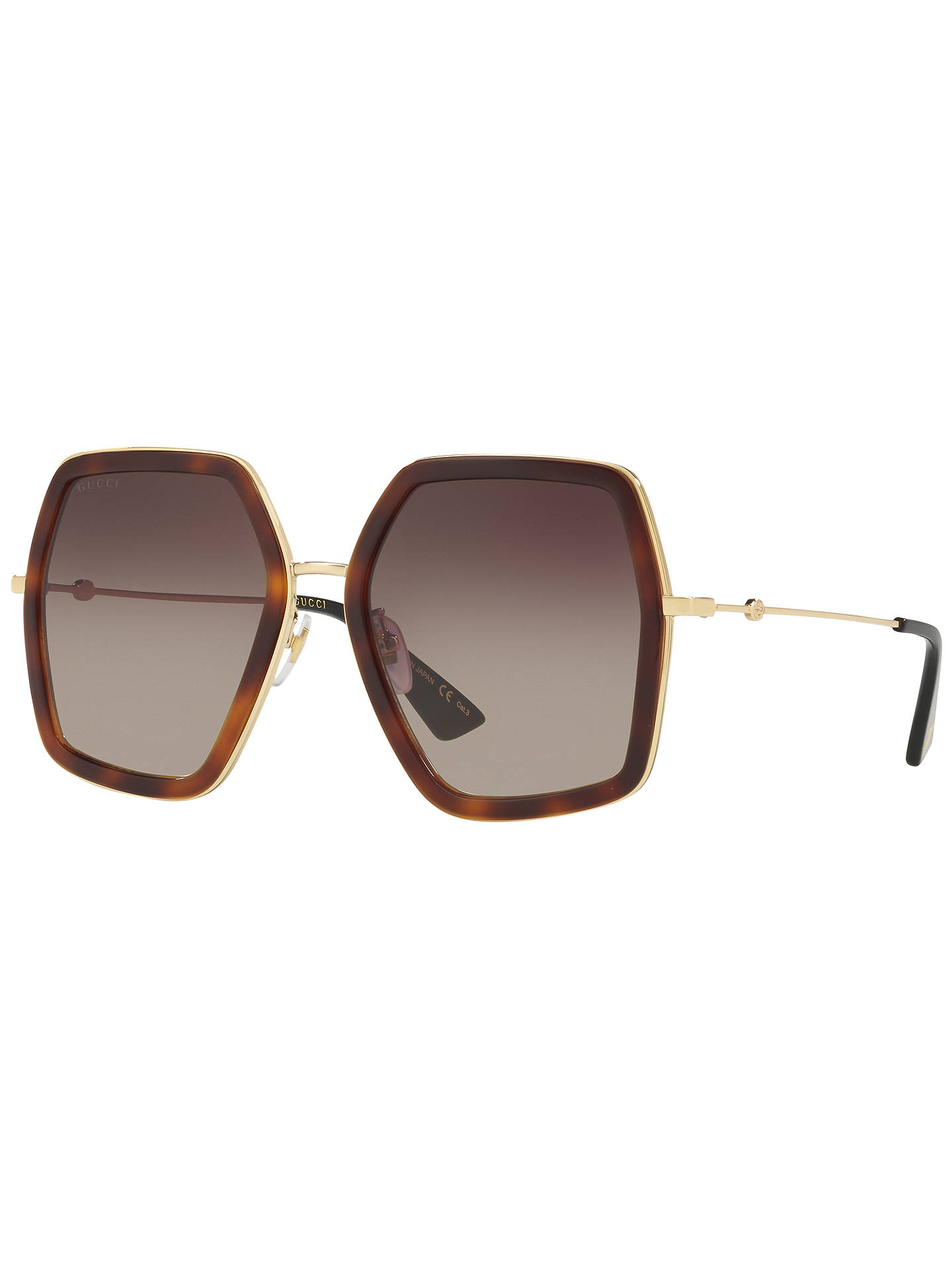 cfefd19daa00 Gucci GG0106S Outsize Square Sunglasses at John Lewis   Partners