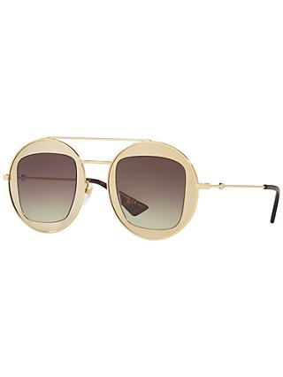 Gucci GG0105S Round Sunglasses, Gold/Brown Gradient