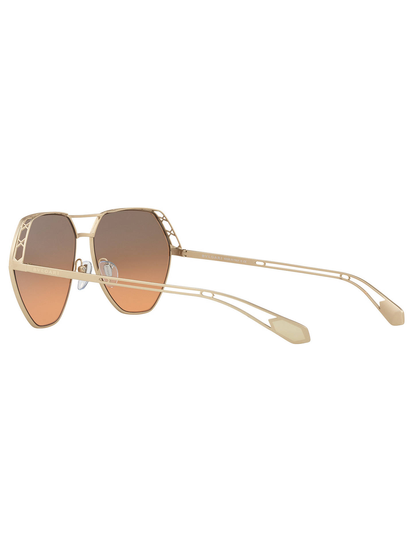 Buy BVLGARI BV6098 Aviator Sunglasses, Gold/Grey Rose Online at johnlewis.com