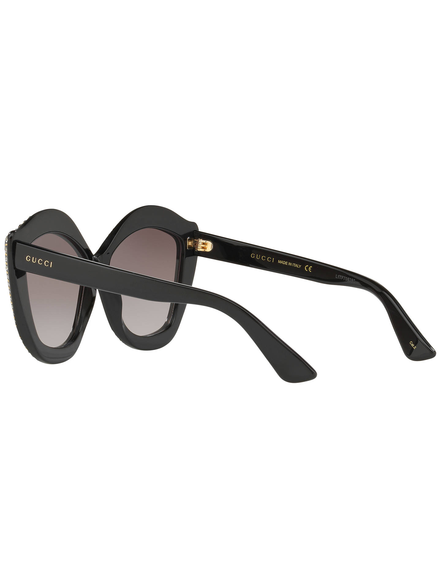 86d0cadc1 Buy Gucci GG0118S Embellished Cat's Eye Sunglasses, Black/Brown Gradient  Online at johnlewis.