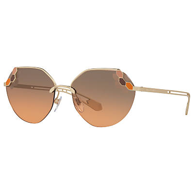 BVLGARI BV6099 Geometric Sunglasses, Gold/Grey Rose