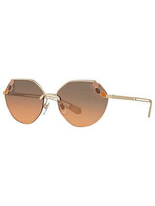 BVLGARI BV6099 Geometric Sunglasses, Gold/Grey Rose