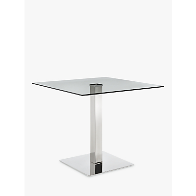 John Lewis Tropez Square 4 Seater Dining Table, Glass/Steel