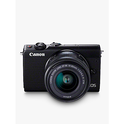 Canon EOS M100 Compact System Camera with EF-M 15-45mm f/3.5-6.3 IS STM lens, HD 1080p, 24.2MP, Wi-Fi, Bluetooth, NFC, 3 Tiltable Touch Screen, Black