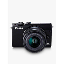 "Buy Canon EOS M100 Compact System Camera with EF-M 15-45mm f/3.5-6.3 IS STM lens, HD 1080p, 24.2MP, Wi-Fi, Bluetooth, NFC, 3"" Tiltable Touch Screen, Black with Brown Jacket Case Online at johnlewis.com"