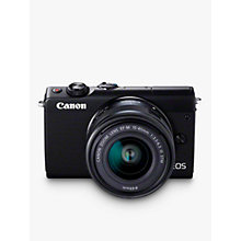 "Buy Canon EOS M100 Compact System Camera with EF-M 15-45mm f/3.5-6.3 IS STM & EF-M 22mm f/2.0 STM Lenses, HD 1080p, 24.2MP, Wi-Fi, Bluetooth, NFC, 3"" Tiltable Touch Screen, Double Lens Kit, Black Online at johnlewis.com"