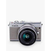"Buy Canon EOS M100 Compact System Camera with EF-M 15-45mm f/3.5-6.3 IS STM lens, HD 1080p, 24.2MP, Wi-Fi, Bluetooth, NFC, 3"" Tiltable Touch Screen, Grey Online at johnlewis.com"