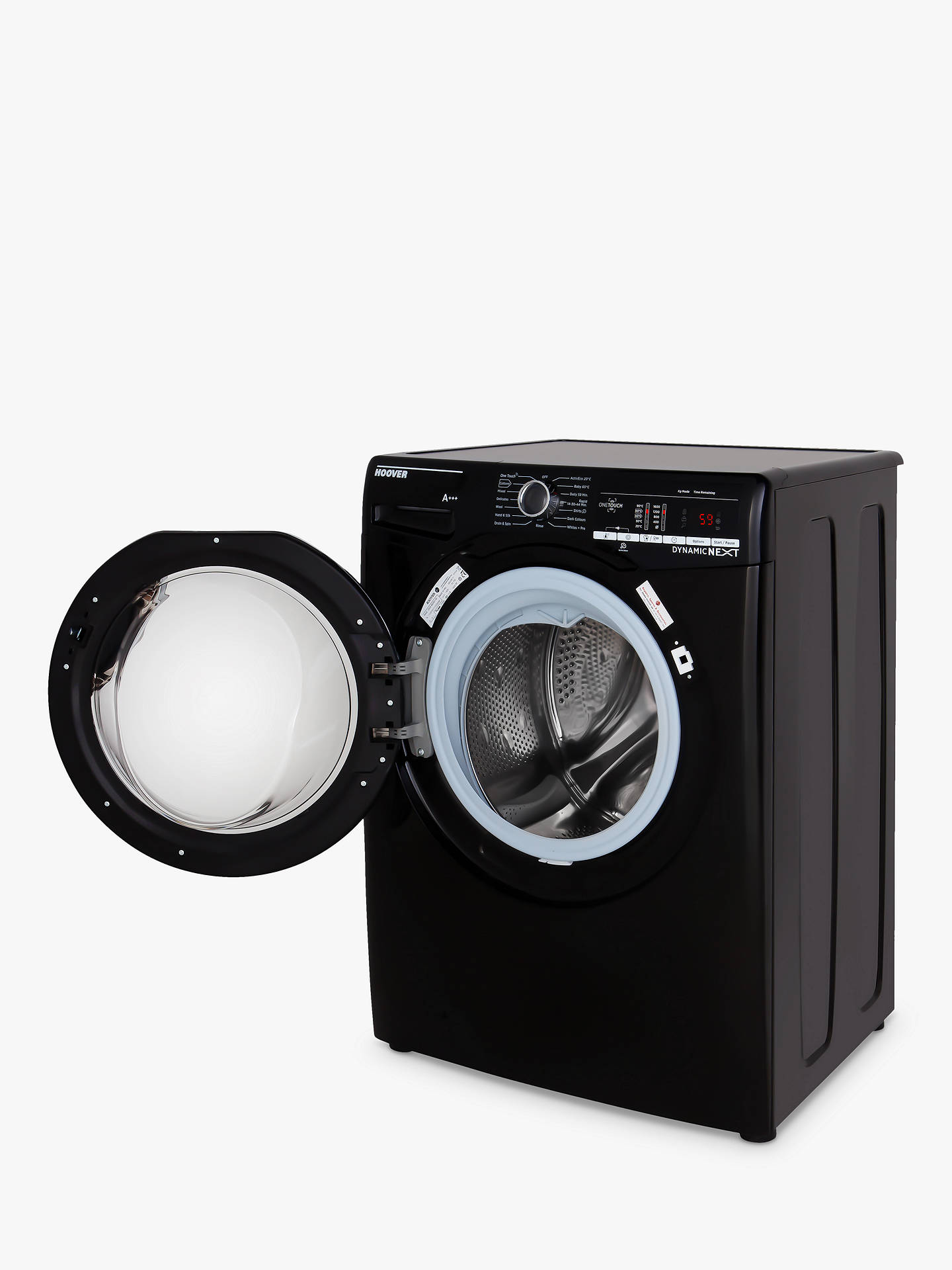 Buy Hoover DXOA68LB3B Freestanding Washing Machine, 8kg Load, A+++ Energy Rating, 1600rpm Spin, Black Online at johnlewis.com
