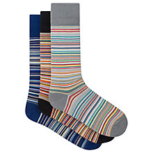 Buy Paul Smith Signature Stripe Cotton Socks, One Size, Pack of 3, Blue/Orange/Grey Online at johnlewis.com