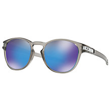 Buy Oakley OO9265 Latch Prizm Polarised Round Sunglasses, Grey/Mirror Blue Online at johnlewis.com