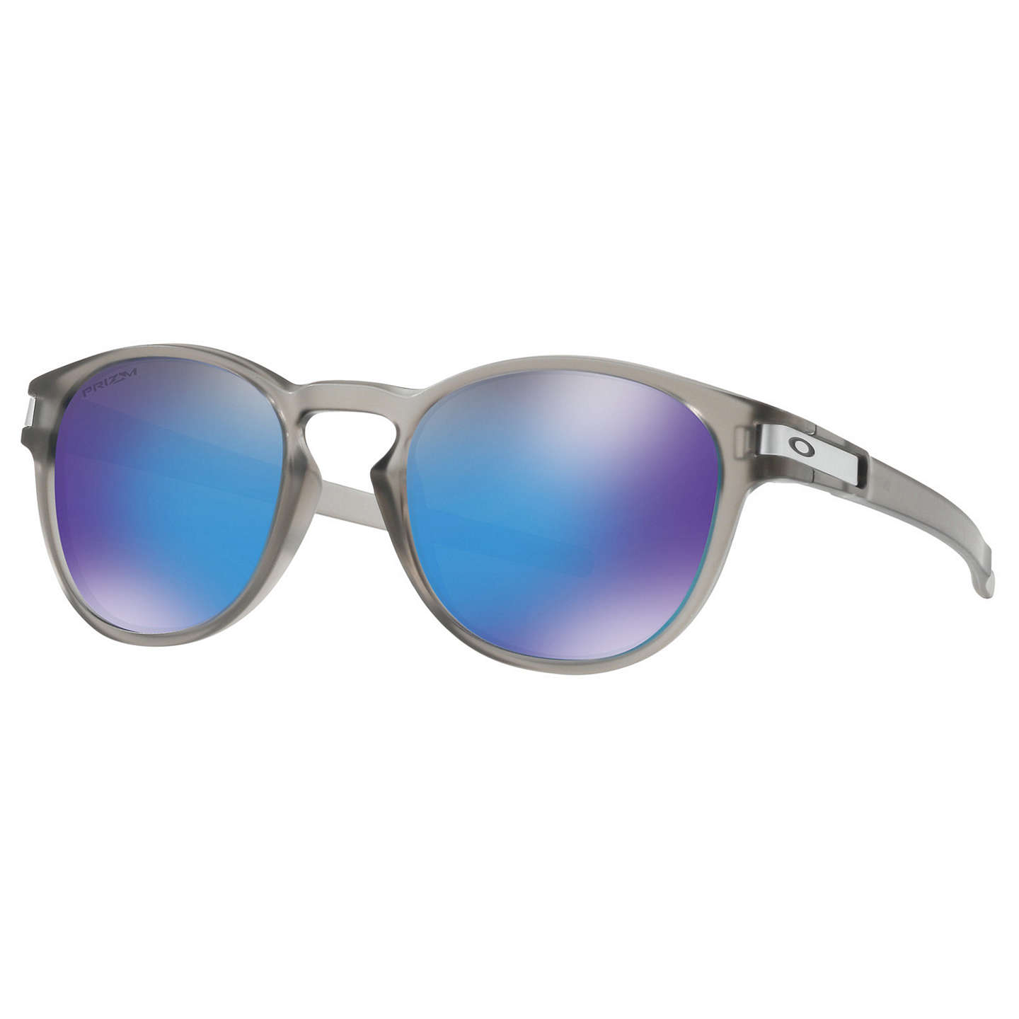 Oakley Oo9265 Latch Prizm Polarised Round Sungl Grey Mirror Blue At Johnlewis