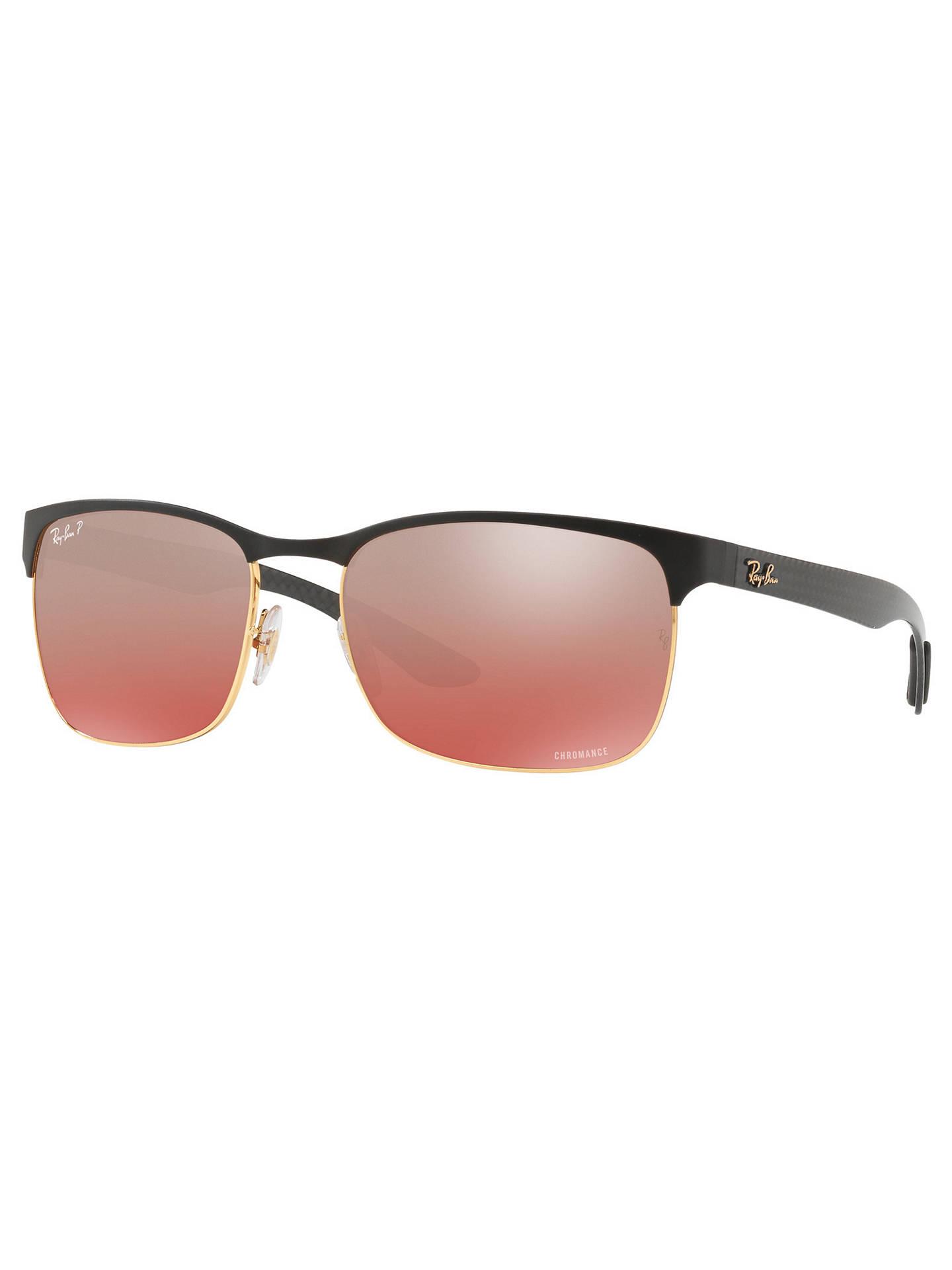 7610cd2fb6b112 Buy Ray-Ban RB8319 Polarised Rectangular Sunglasses, Black/Pink Gradient  Online at johnlewis ...