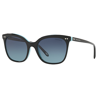 Tiffany & Co TF4140 Polarised Square Sunglasses, Black/Blue Gradient