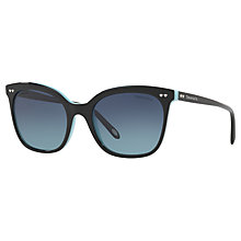 Buy Tiffany & Co TF4140 Polarised Square Sunglasses, Black/Blue Gradient Online at johnlewis.com