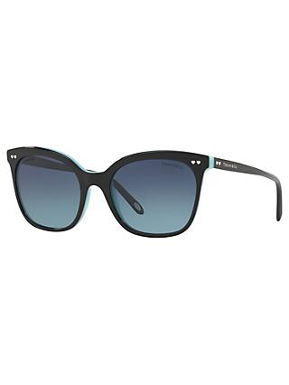 Tiffany & Co TF4140 Polarised Square Sunglasses, Black/Blue Gradient