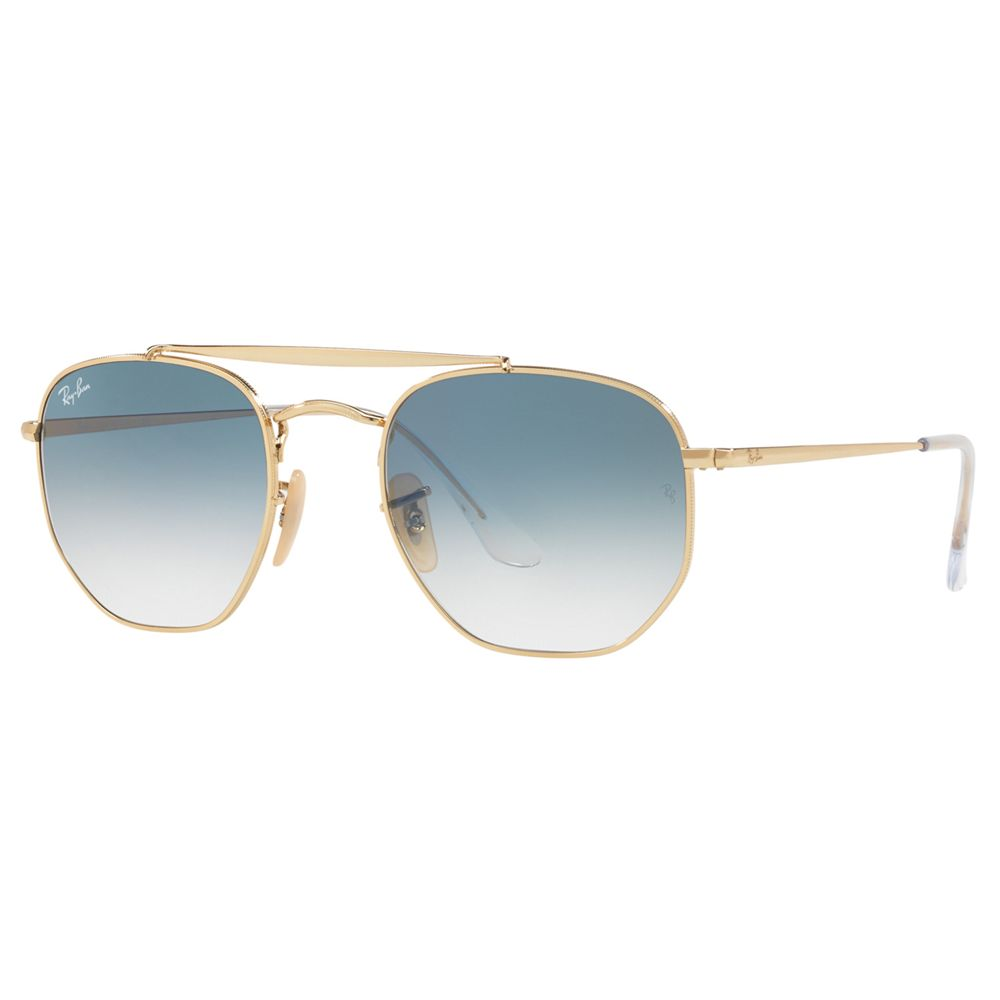 Ray-ban Ray-Ban RB3648 Women's The Marshal Square Sunglasses, Gold/Blue Gradient