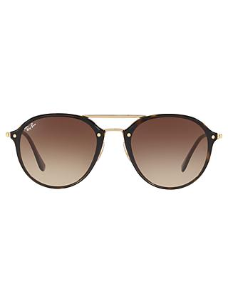Ray-Ban RB4292 Oval Blaze Sunglasses, Gold/Brown